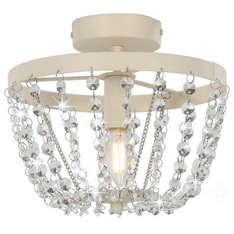 Topdeal Ceiling Lamp with Crystal Beads White Round E14 VDTD23182