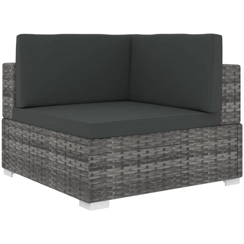 VDTD30141_FR Chaise d'angle sectionnelle avec coussins Résine tressée Gris - Topdeal