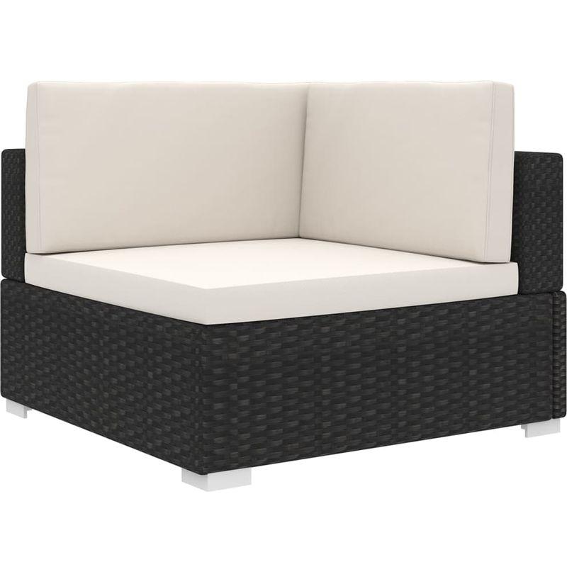 VDTD30140_FR Chaise d'angle sectionnelle avec coussins Résine tressée Noir - Topdeal