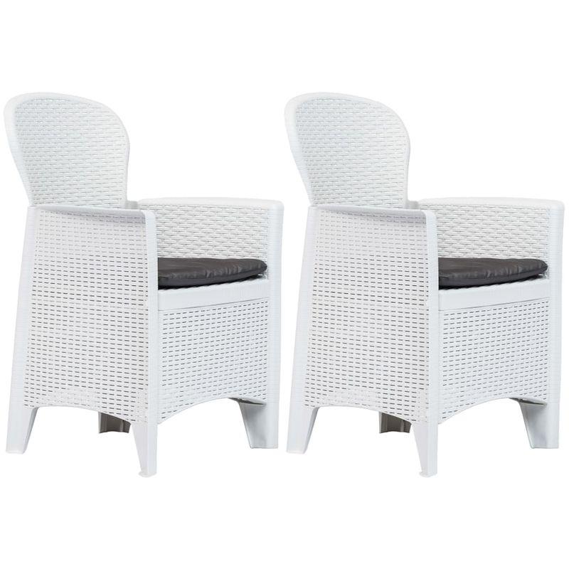 VDTD29728_FR Chaise de jardin 2 pcs et coussin Blanc Plastique Aspect rotin - Topdeal