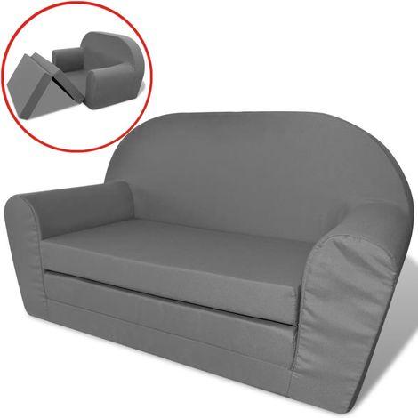 Topdeal Chaise longue pliable pour enfants Gris