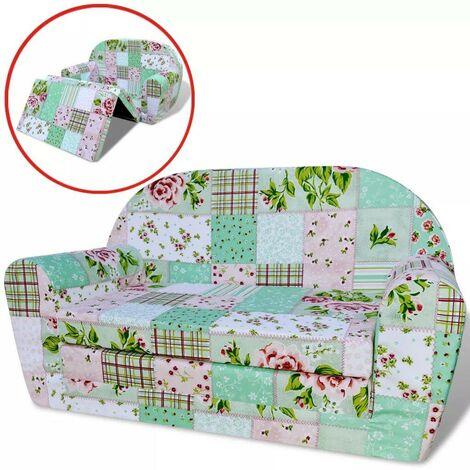 Topdeal Chaise longue pliable pour enfants motif de fleurs