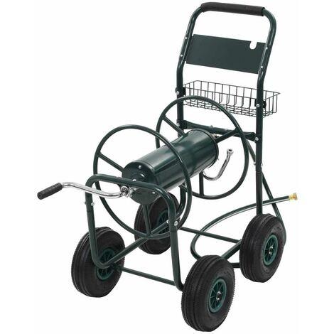 """Topdeal Chariot dévidoir avec connecteur de tuyau 1/2"""" Acier Vert"""