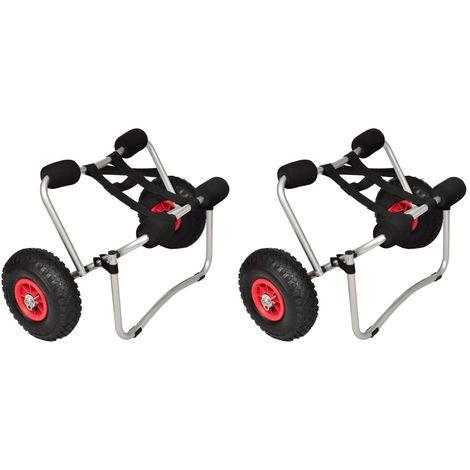 Topdeal Chariots pour kayak 2 pcs Aluminium