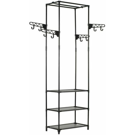 Topdeal Clothes Rack Steel and Non-woven Fabric 55x28.5x175 cm Black VDTD11691
