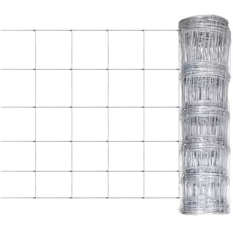 Topdeal Clôture de jardin Acier galvanisé 50 m 80 cm