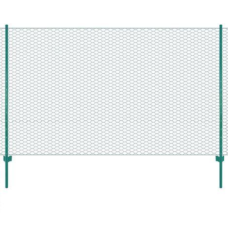 Topdeal Clôture en grillage métallique avec poteaux Acier 25x1,5 m Vert