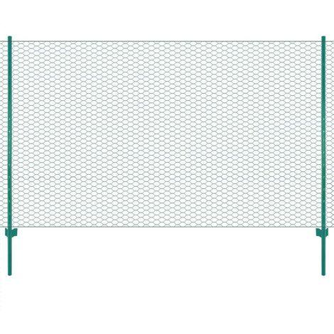 Topdeal Clôture en grillage métallique avec poteaux Acier 25x2 m Vert