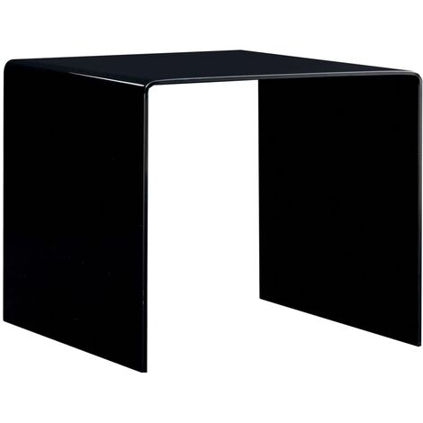 Topdeal Coffee Table Black 50x50x45 cm Tempered Glass VDTD25023