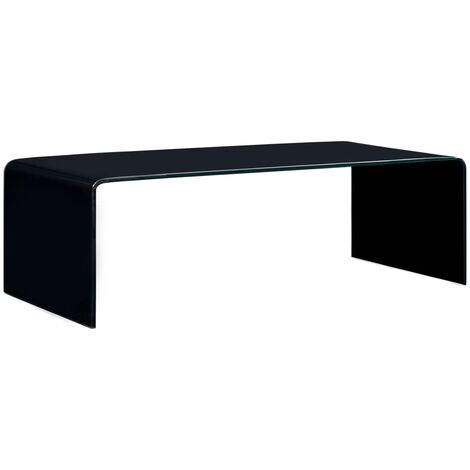 Topdeal Coffee Table Black 98x45x31 cm Tempered Glass VDTD25029
