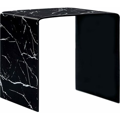 Topdeal Coffee Table Black Marble 50x50x45 cm Tempered Glass VDTD25032