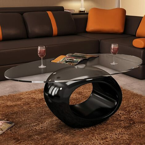Topdeal Coffee Table with Oval Glass Top High Gloss Black VDTD08160