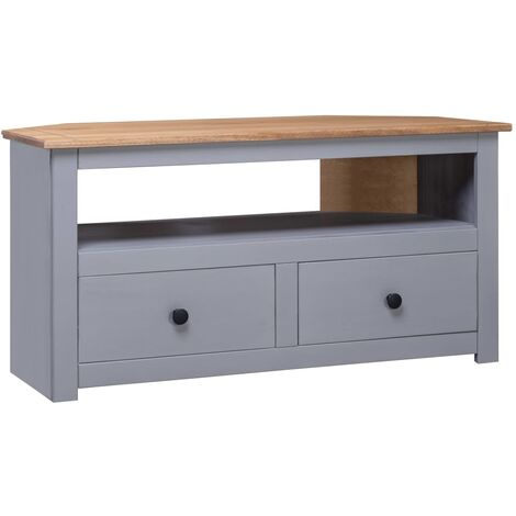 Topdeal Corner TV Cabinet Grey 93x55x49 cm Solid Pine Panama Range VDTD23775