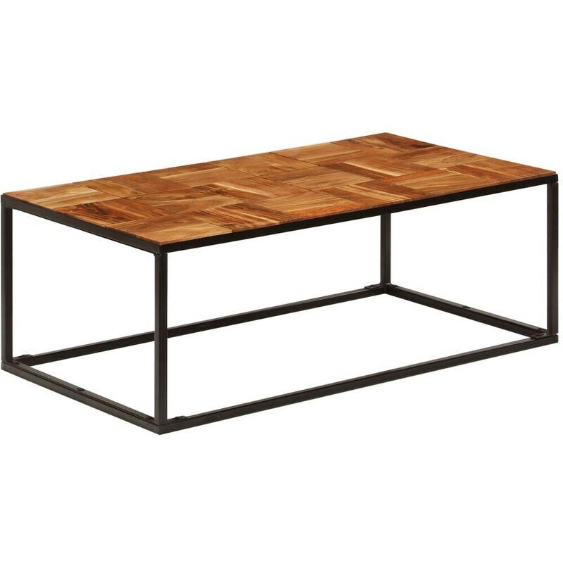 Topdeal Couchtisch 110 x 40 x 60 cm Massivholz Akazie und Stahl 12603