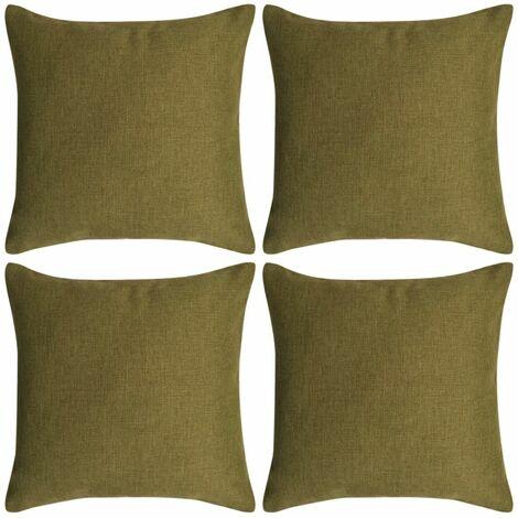 Topdeal Cushion Covers 4 pcs Linen-look Green 40x40 cm VDTD00991