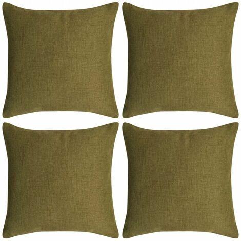 Topdeal Cushion Covers 4 pcs Linen-look Green 80x80 cm VDTD00993