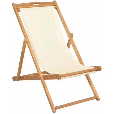 Topdeal Deck Chair Teak 56x105x96 cm Cream VDTD28040