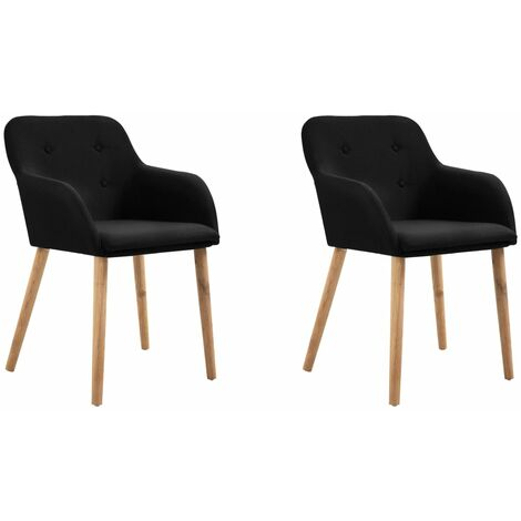 Topdeal Dining Chairs 2 pcs Black Fabric and Solid Oak Wood VDTD33168