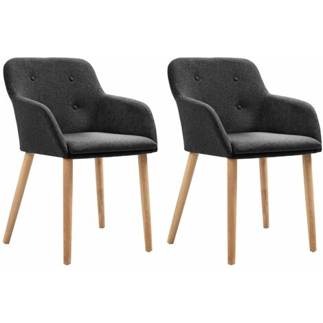 Topdeal Dining Chairs 2 pcs Dark Grey Fabric and Solid Oak Wood VDTD33164