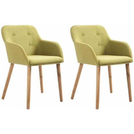 Topdeal Dining Chairs 2 pcs Green Fabric and Solid Oak Wood VDTD33167