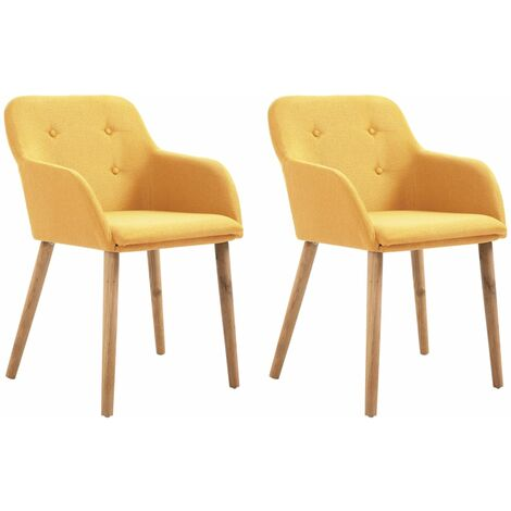 Topdeal Dining Chairs 2 pcs Yellow Fabric and Solid Oak Wood VDTD33169