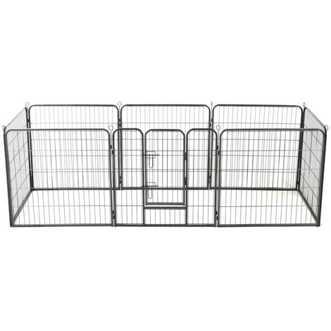 Topdeal Dog Playpen 8 Panels Steel 80x80 cm Black VDTD07128