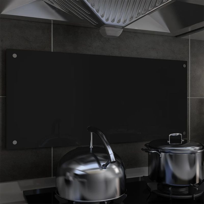 Dosseret de cuisine Noir 90 x 40 cm Verre trempé - Topdeal