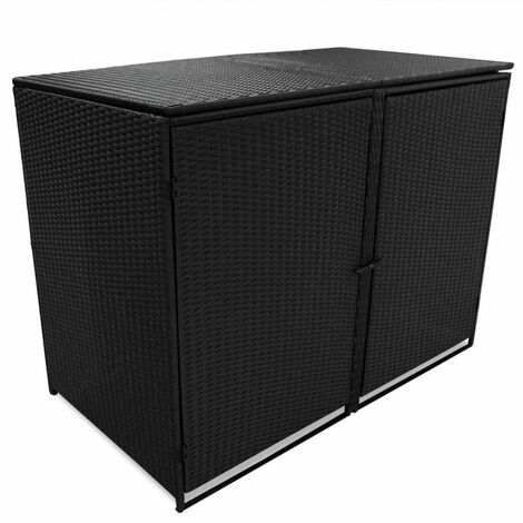 Topdeal Double Wheelie Bin Shed Poly Rattan Black 148x80x111 cm VDTD28113