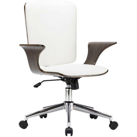 Topdeal Drehbarer Bürostuhl Weiß Kunstleder und Bugholz 24023