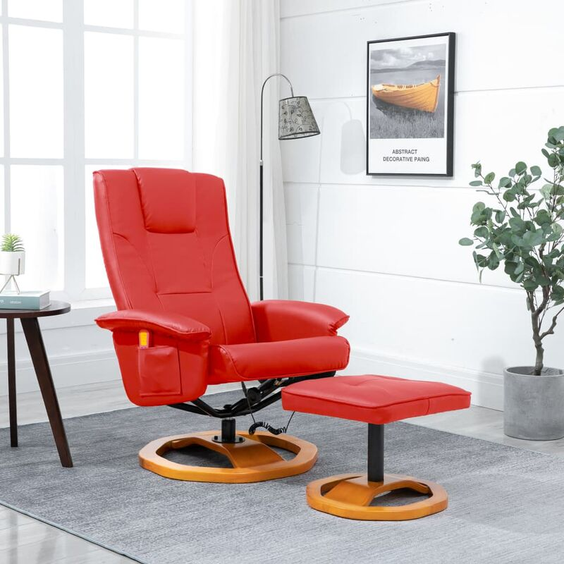 Topdeal Elektrischer Massagesessel mit Fußhocker Rot Kunstleder 14071
