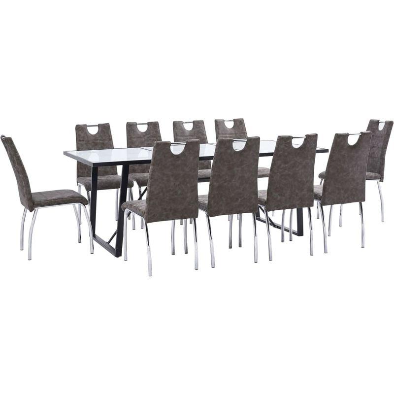 Topdeal VDTD37701_FR Ensemble de salle à manger 11 pcs Marron Similicuir