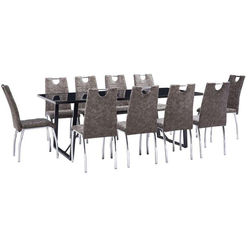 Topdeal VDTD37875_FR Ensemble de salle à manger 11 pcs Marron Similicuir