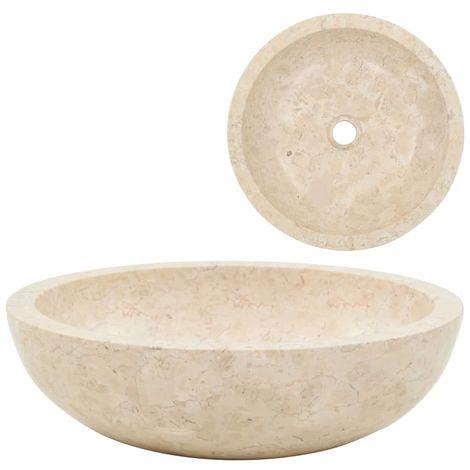 Topdeal évier 40 x 12 cm Marbre Crème