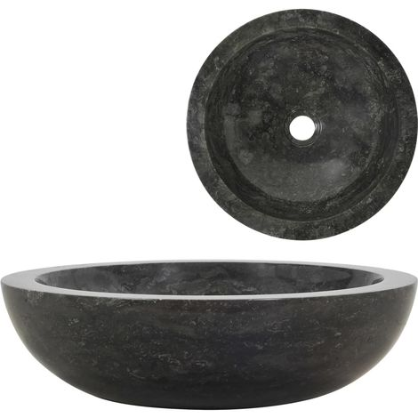 Topdeal évier 40 x 12 cm Marbre Noir