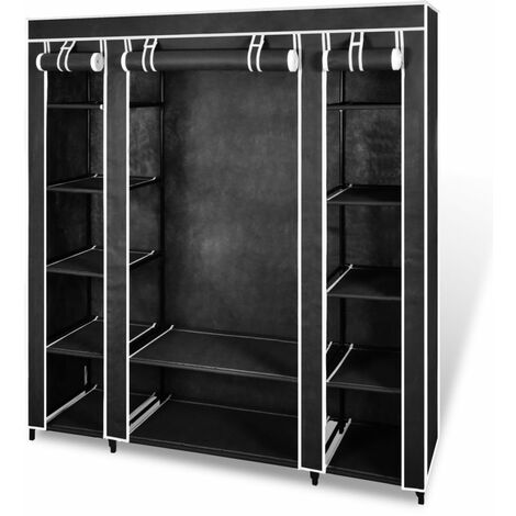 Topdeal Fabric Wardrobe with Compartments and Rods 45x150x176 cm Black VDTD08226