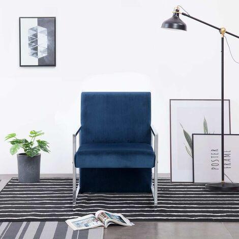 Topdeal Fauteuil avec pieds en chrome Bleu Velours