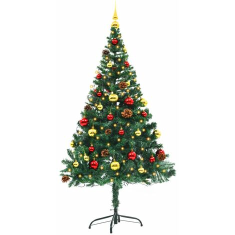 Topdeal Faux Christmas Tree Decorated with Baubles and LEDs 150cm Green VDTD12323