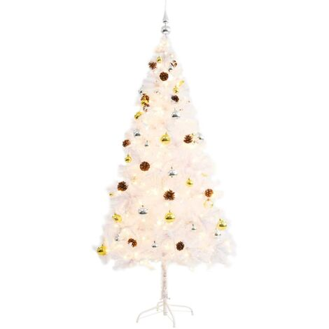 Topdeal Faux Christmas Tree Decorated with Baubles and LEDs 180cm White VDTD12327