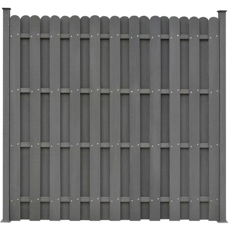 Topdeal Fence Panel with 2 Posts WPC 180x180 cm Grey VDTD29201