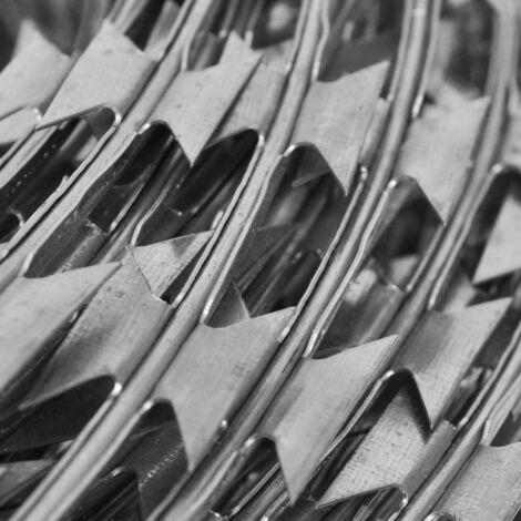 Topdeal Fil de fer barbelé NATO Rouleau hélicoïdal Acier galvanisé 60 m