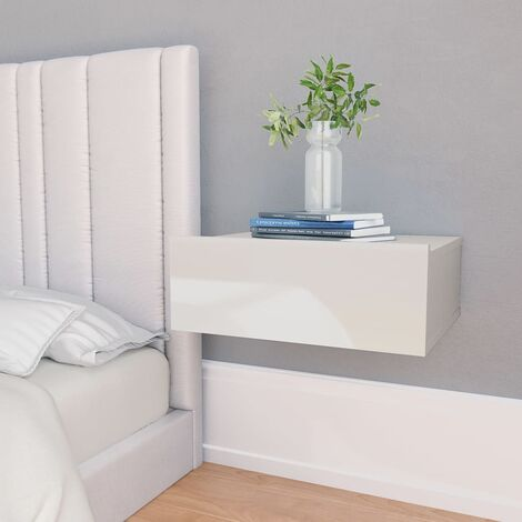 Topdeal Floating Nightstands 2 pcs High Gloss White 40x30x15 cm Chipboard VDTD31348