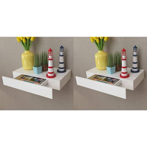 Topdeal Floating Wall Shelves with Drawers 2 pcs White 48 cm VDTD18890