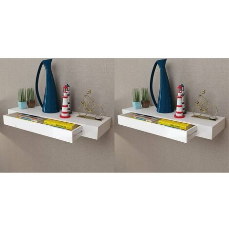 Topdeal Floating Wall Shelves with Drawers 2 pcs White 80 cm VDTD18891