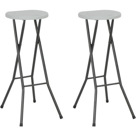 Topdeal Folding Bar Stools 2 pcs HDPE and Steel White VDTD28754
