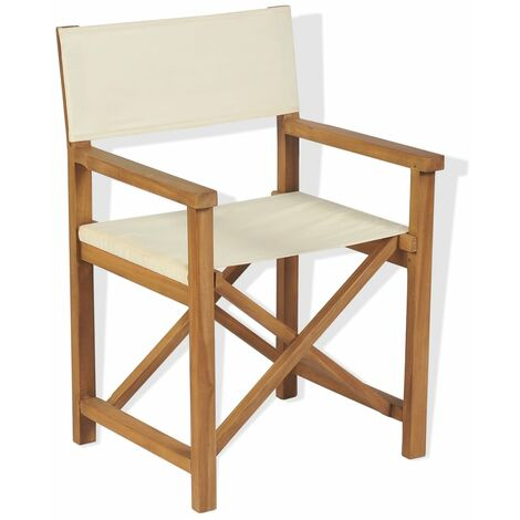 Topdeal Folding Director's Chair Solid Teak Wood VDTD28039