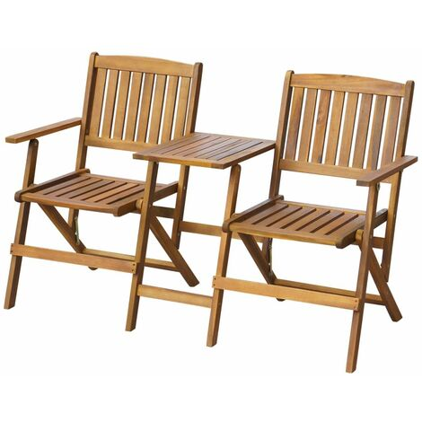 Topdeal Folding Garden Bench with Tea Table 140 cm Solid Acacia Wood VDTD27164
