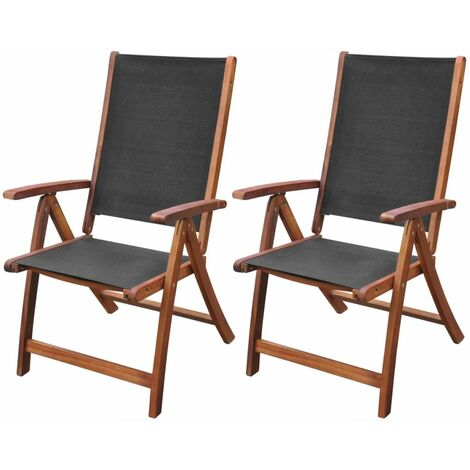 Topdeal Folding Garden Chairs 2 pcs Solid Acacia Wood and Textilene VDTD26680