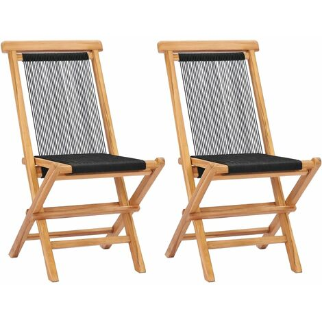 Topdeal Folding Garden Chairs 2 pcs Solid Teak Wood and Rope VDTD47003