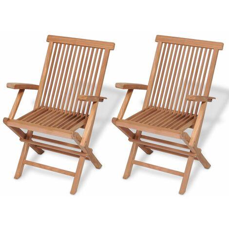 Topdeal Folding Garden Chairs 2 pcs Solid Teak Wood VDTD26785