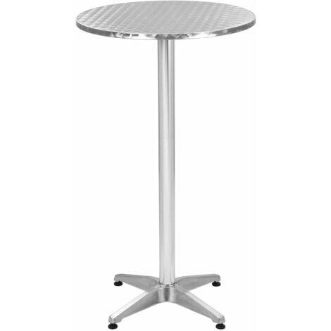 Topdeal Folding Garden Silver Table 60x(70-110) cm Aluminium VDTD46643